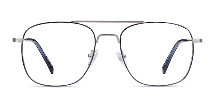 Perry Blue & Silver Metal Eyeglass Frames from EyeBuyDirect