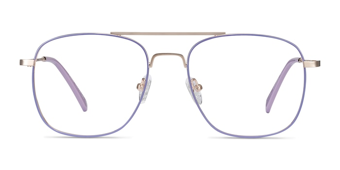 Perry Purple & Gold Metal Eyeglass Frames from EyeBuyDirect