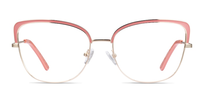 Marina Coral & Gold Metal Eyeglass Frames from EyeBuyDirect