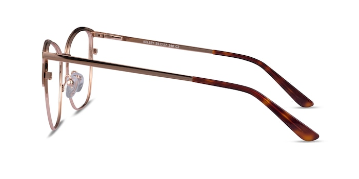 Kelsey Red Rose Gold Metal Eyeglass Frames from EyeBuyDirect