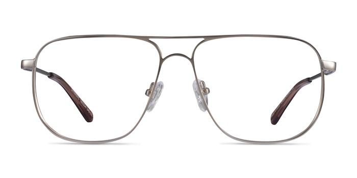 Dynamic Matte Silver Metal Eyeglass Frames from EyeBuyDirect