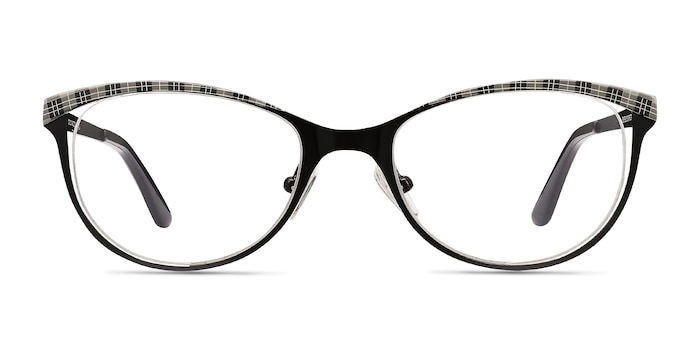 Deco Black Gray Metal Eyeglass Frames from EyeBuyDirect