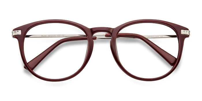 Red Muse -  Lightweight Plastic, Metal Eyeglasses