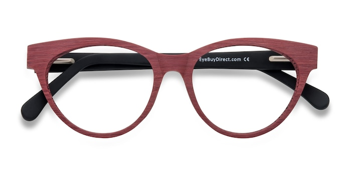 Berry Red Jane Birkin -  Fashion Wood Texture Eyeglasses