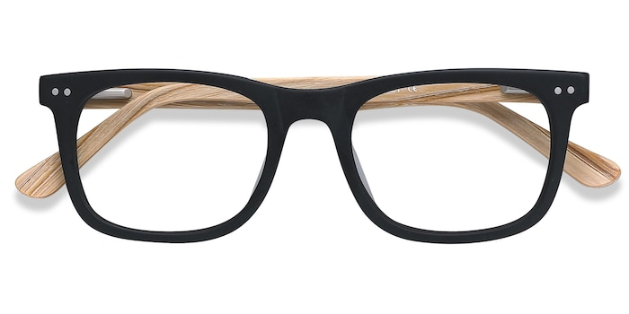 Matte Black Montreal -  Fashion Wood Texture Eyeglasses