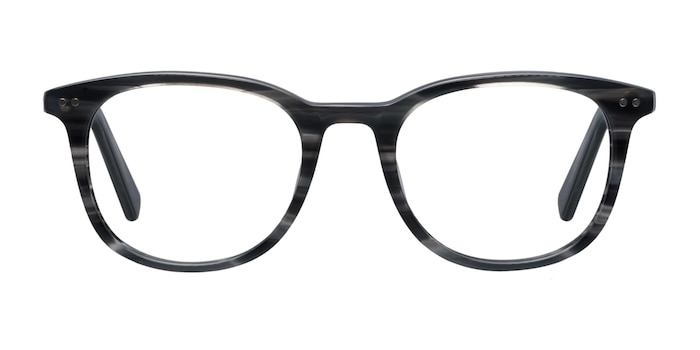 Demain  Gray Striped  Acetate Eyeglass Frames from EyeBuyDirect