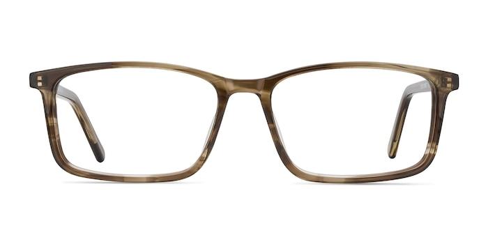 Crane Brown Striped Acetate Eyeglass Frames from EyeBuyDirect