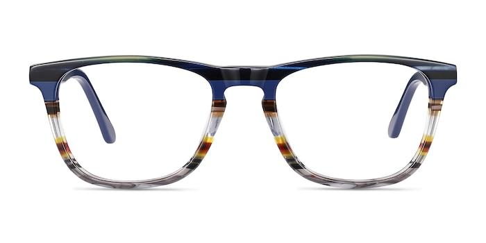 Prelude Blue Striped Acetate Eyeglass Frames from EyeBuyDirect