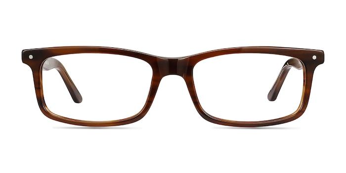 Mandi Brown Striped Acétate Montures de Lunette de vue d'EyeBuyDirect