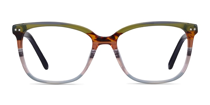 North Green Striped Acetate Eyeglass Frames from EyeBuyDirect