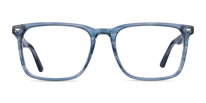 Tactician Blue Striped Acetate Eyeglass Frames from EyeBuyDirect