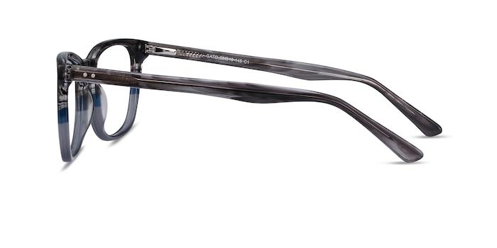 Gato Gray Striped Acétate Montures de Lunette de vue d'EyeBuyDirect