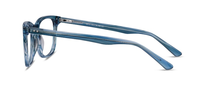 Gato Blue Striped Acetate Eyeglass Frames from EyeBuyDirect