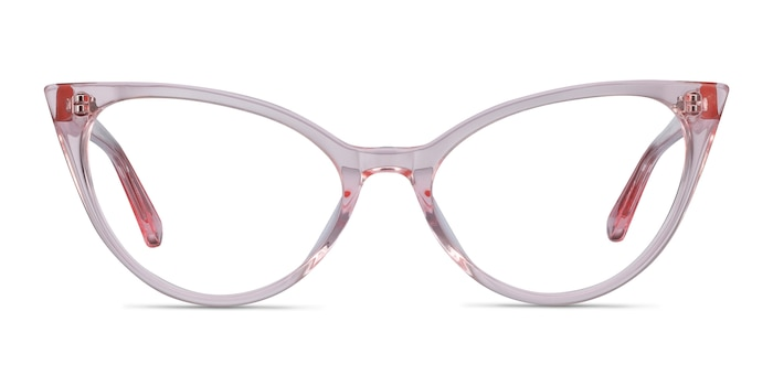 Quartet Clear Pink Acetate Eyeglass Frames from EyeBuyDirect