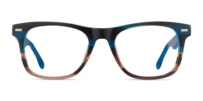 Caster Blue Striped Acetate Eyeglass Frames from EyeBuyDirect