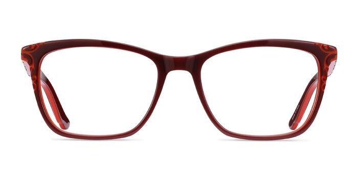 Hedera Burgundy Orange Acetate Eyeglass Frames from EyeBuyDirect