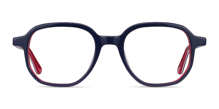States Navy & Red Acetate Eyeglass Frames from EyeBuyDirect