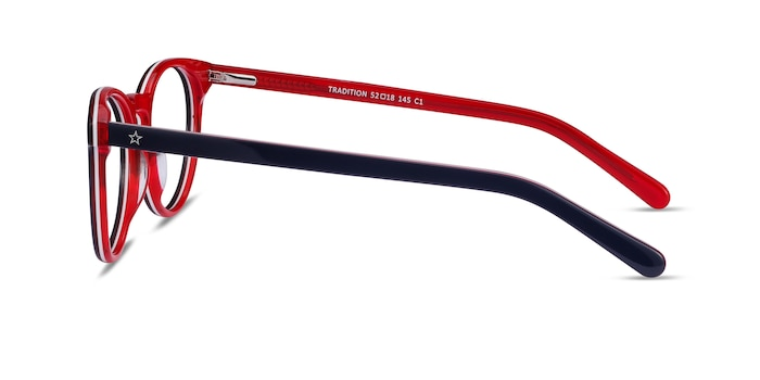 Tradition Navy & Red Acetate Eyeglass Frames from EyeBuyDirect