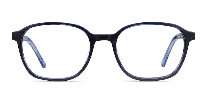 Efficient Blue Striped Acetate Eyeglass Frames from EyeBuyDirect