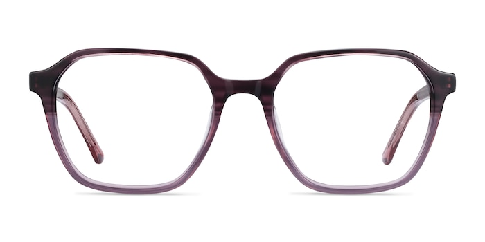 Glib Purple Striped Acétate Montures de Lunette de vue d'EyeBuyDirect