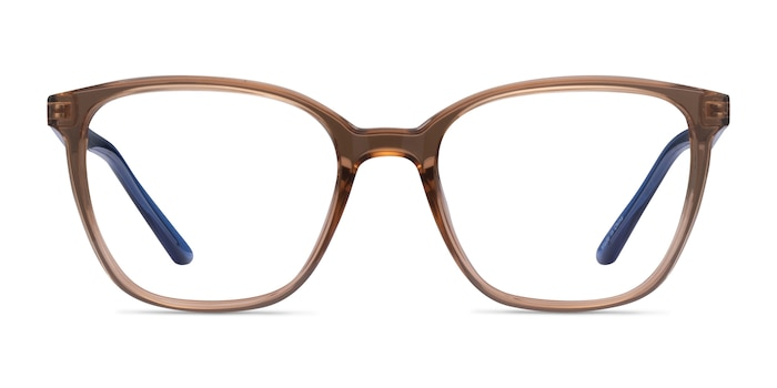Identical Clear Brown & Blue Plastic Eyeglass Frames from EyeBuyDirect