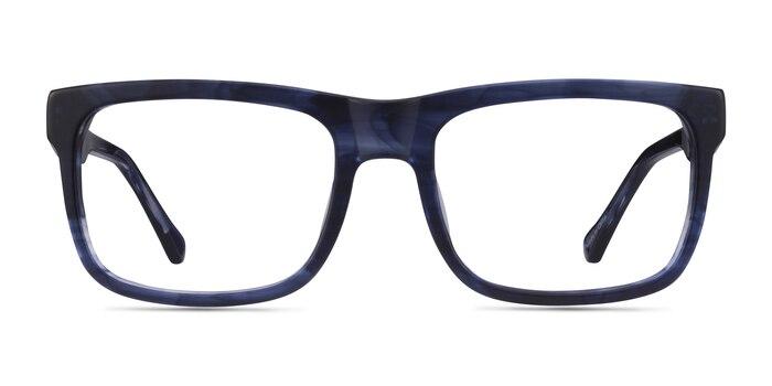 Ylem Matte Blue Striped Acetate Eyeglass Frames from EyeBuyDirect
