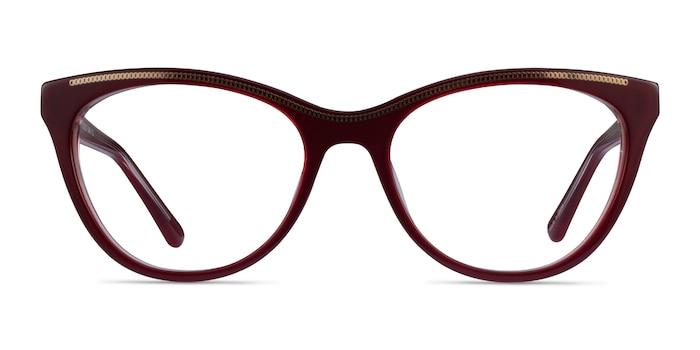 Felicity Burgundy Gold Acetate Eyeglass Frames from EyeBuyDirect