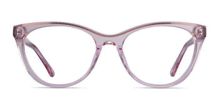 Felicity Clear Pink Rose Gold Acetate Eyeglass Frames from EyeBuyDirect