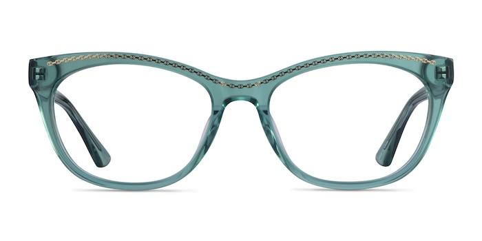 Arabesque Clear Green Gold Acetate Eyeglass Frames from EyeBuyDirect