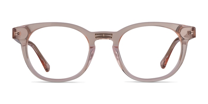 Hoop Clear Pink Gold Acetate Eyeglass Frames from EyeBuyDirect