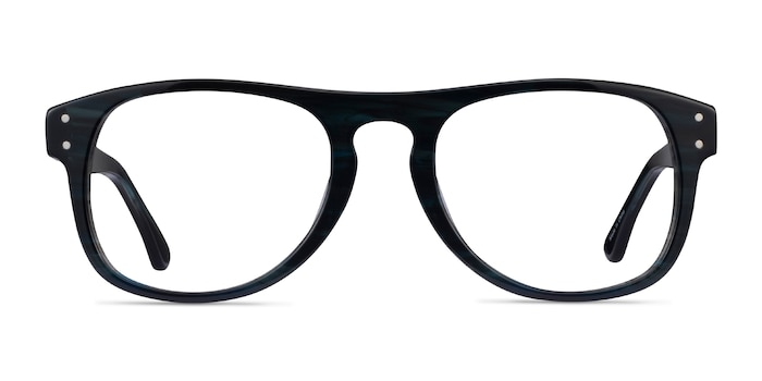 Galveston Dark Blue Striped Acetate Eyeglass Frames from EyeBuyDirect