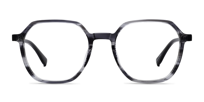 Oscar Gray Striped   Black Acetate Eyeglass Frames from EyeBuyDirect