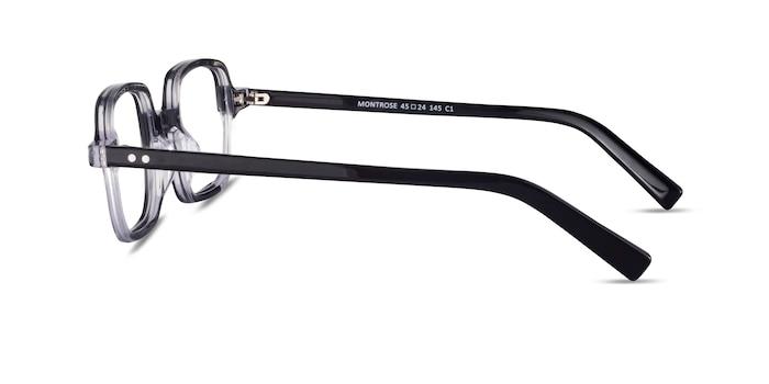 Montrose Black Clear Acétate Montures de lunettes de vue d'EyeBuyDirect