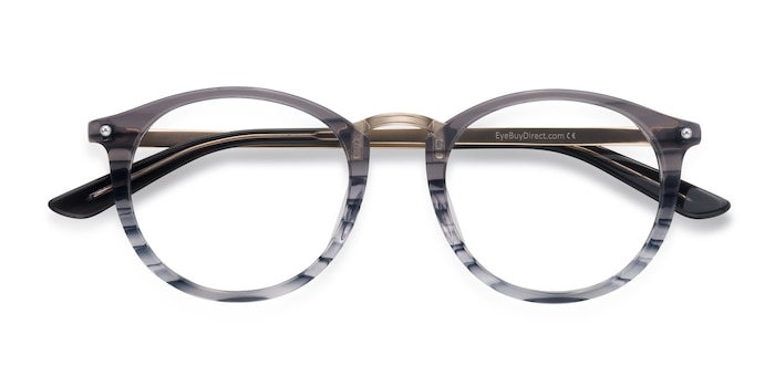 Gray Striped La Femme -  Designer Metal Eyeglasses