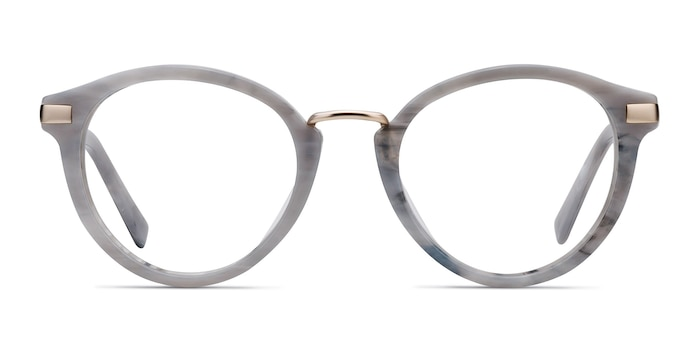 Yuke Light Gray Acetate-metal Eyeglass Frames from EyeBuyDirect
