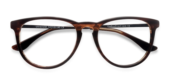 Brown Striped Ultraviolet -  Metal Eyeglasses