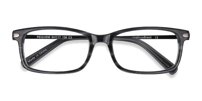 Gray Striped Requiem -  Metal Eyeglasses
