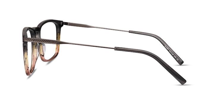Glory Gray Striped Acetate-metal Montures de Lunette de vue d'EyeBuyDirect