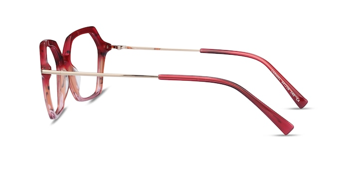 Carmel Raspberry Striped Acetate-metal Eyeglass Frames from EyeBuyDirect