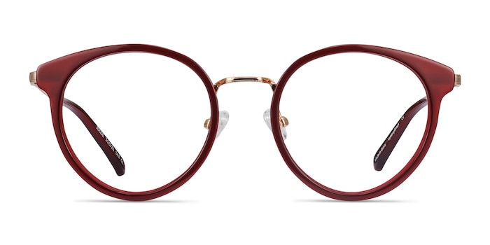 Jezzie Burgundy & Gold Acetate Eyeglass Frames from EyeBuyDirect