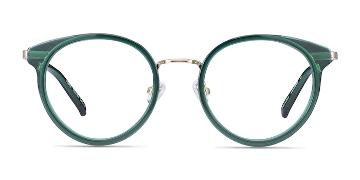Jezzie Emerald Green & Gold Acetate-metal Eyeglass Frames from EyeBuyDirect