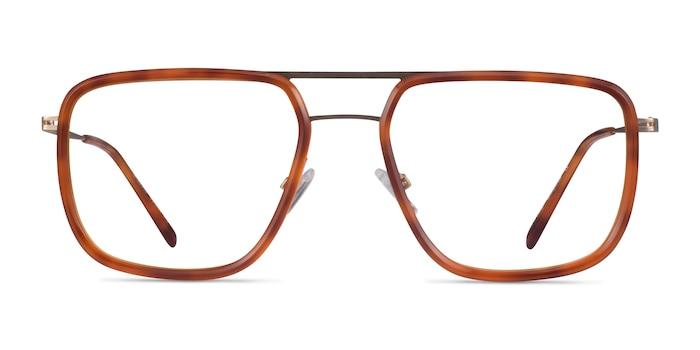 Cassian Tortoise Gold Acetate Eyeglass Frames from EyeBuyDirect