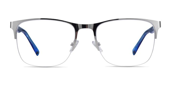 Emmerson Silver & Clear Blue Acetate-metal Eyeglass Frames from EyeBuyDirect