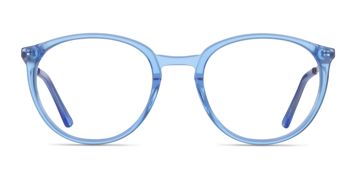 Mindful Clear Blue  Gold Acetate Eyeglass Frames from EyeBuyDirect