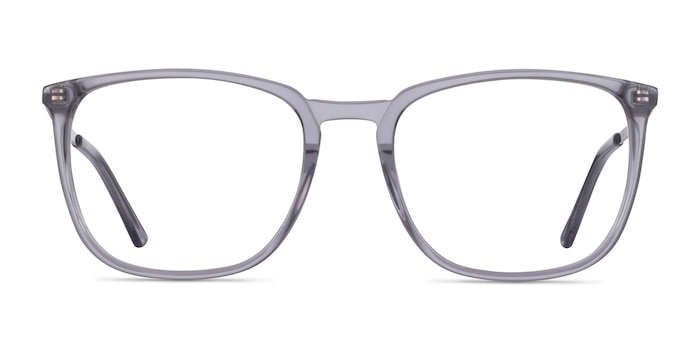 Domenico Clear Gray  Silver Acetate Eyeglass Frames from EyeBuyDirect