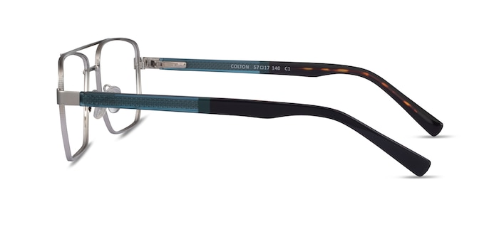 Colton Silver, Clear Blue & Tortoise Acetate Eyeglass Frames from EyeBuyDirect