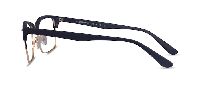Renaissance Matte Blue & Gold Plastic Eyeglass Frames from EyeBuyDirect