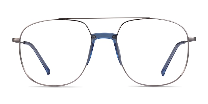 Subject Silver & Clear Blue Acetate-metal Eyeglass Frames from EyeBuyDirect