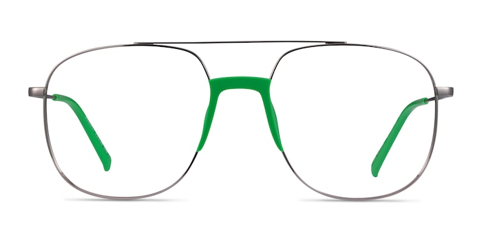 Subject Gunmetal & Green Acetate-metal Montures de Lunette de vue d'EyeBuyDirect