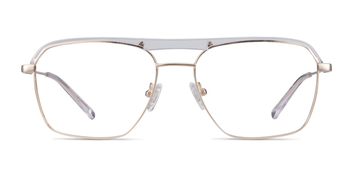 Dynamo Clear & Gold Acetate-metal Eyeglass Frames from EyeBuyDirect